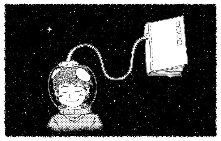 un'illustrazione in bianco e nero. un bambino ha un casco da astronauta in testa ed è collegato, da un cavo, a un libro. Il bambino ha un'espressione felice e si trova nello spazio. Leggere stimola la creatività.