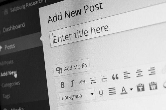 """schermata di wordpress in bianco e nero dove in primo piano c'è scritto """"aggiungi un nuovo post"""" e """"inserisci il titolo qui"""""""