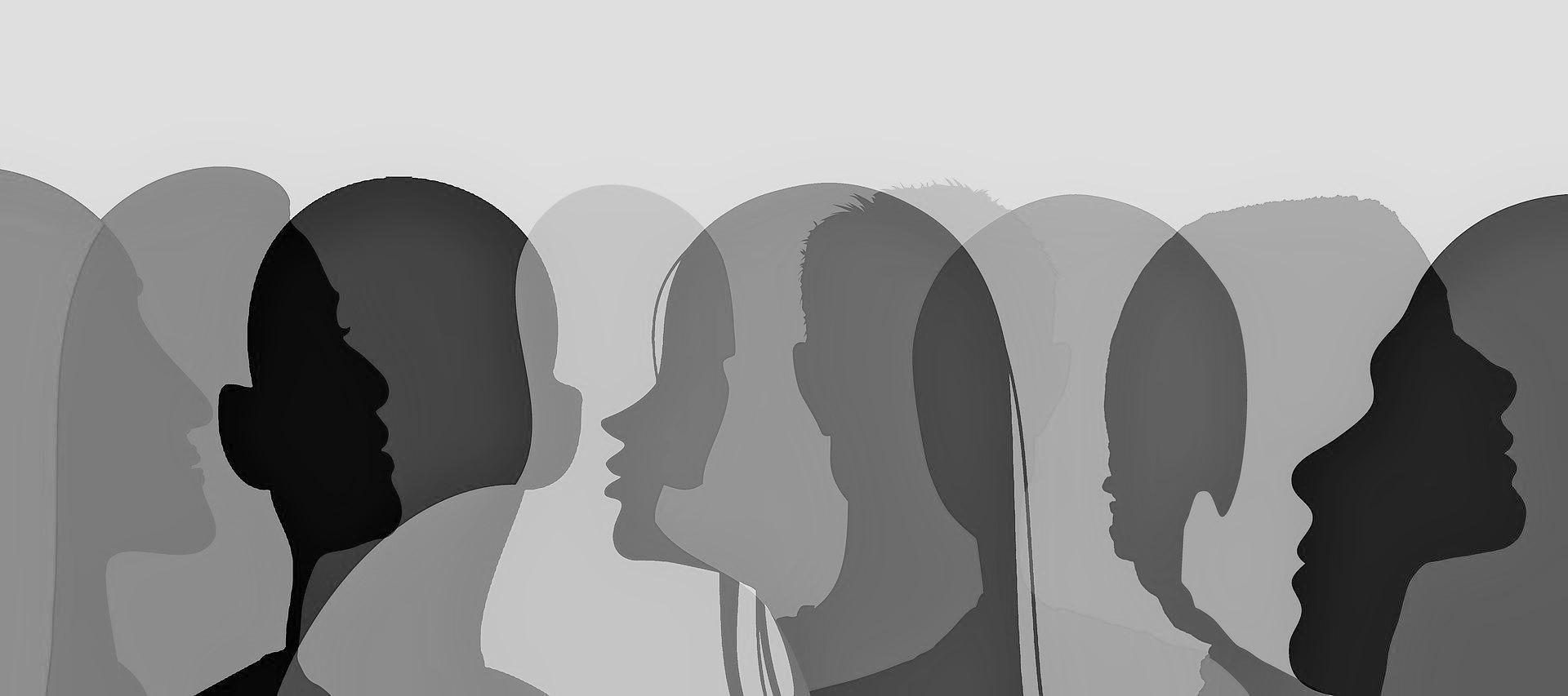 volti stilizzati in bianco e nero di persone che si incontrano e comunicano